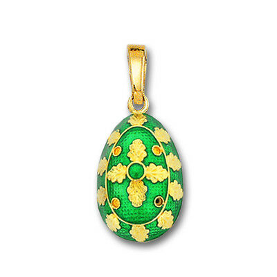 Egg Pendant with Cross ~ 14K Solid Gold and Hot Enamel ~ B/Medium