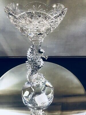 Waterford Seahorse Pillar Crystal Candlestick New In Box 11.25 ''