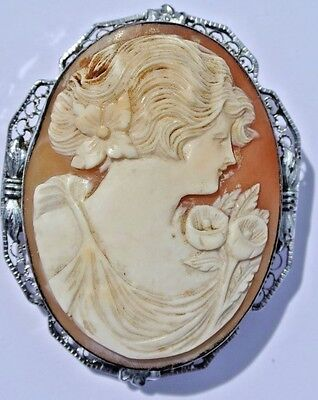 Large Victorian Style Hand Carved Italian Shell Cameo Sterling Silver Pin