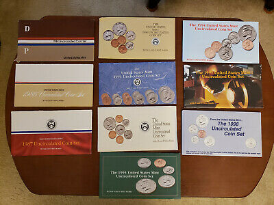 Uncirculated Mint Coin Set Envelopes ONLY 84 86 87 90 91 92 93 94 95 98