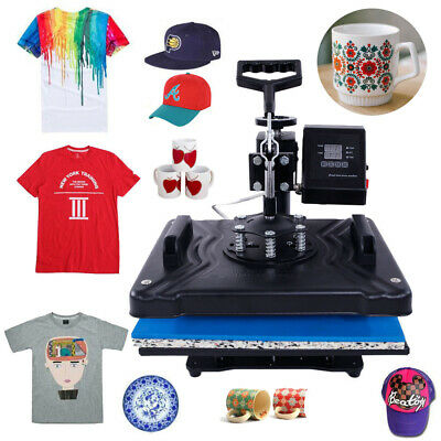 New 5in1 Heat Press Transfer Sublimation Machine T-Shirt Cup Hat+Dual LCD Timer