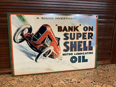 Bank On Super SHELL  Ferrari Racing Vintage Style Sign Gasoline Gas Oil