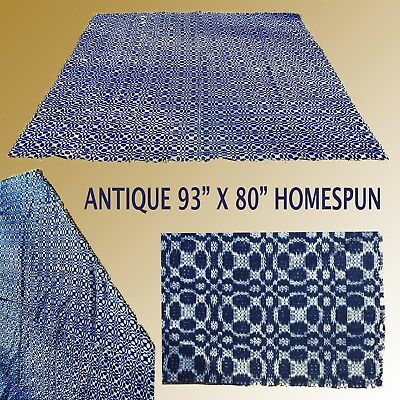 """Antique Large 93"""" X 80"""" Blue And White Homespun Coverlet / Blanket Very Clean"""