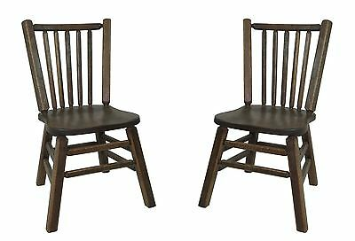 Set of 2 Barnwood Distressed Oak Dining Kitchen Chairs with Spindle Back 389