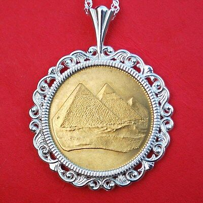 1984 Egypt Piastre Tughra Pyramids BU Coin Solid Sterling Silver Necklace NEW