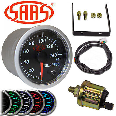 Saas 52Mm Engine Oil Pressure Gauge + Sender Unit Electric 0-140 Psi Sg21230 2""