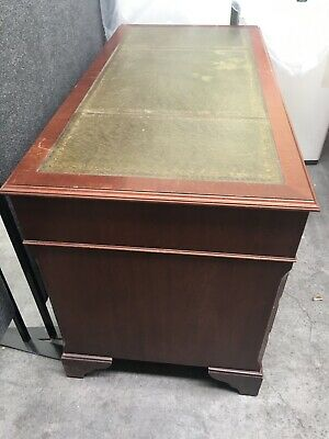 Antique Style Queen Anne Desk Inlaid with Olive green Leather top