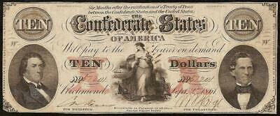 1861 $10 Confederate States Currency Civil War Note Paper Money T-26 Pf-15 R-10