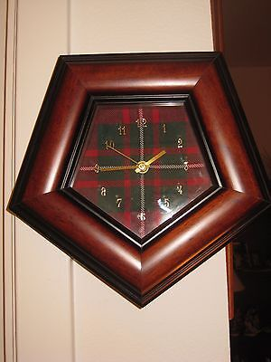 Handcrafted Wooden Scotish MacGregor Modern Tartan Clock Scotland Pentagon