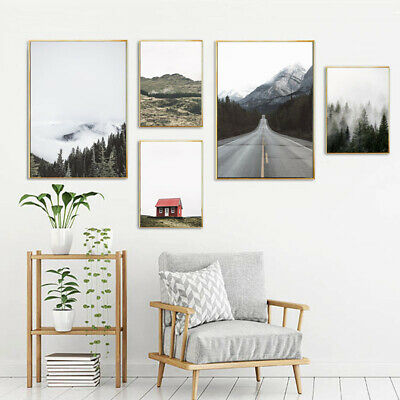 Forest Mountain Canvas Poster Wall Art Print Nordic Landscape Picture Home Decor