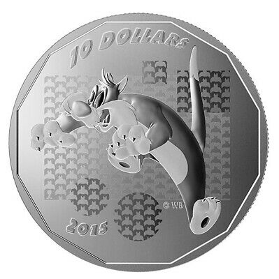 2015 $10 Canada Looney Tunes - Sylvester the Cat 99.99% 1/2oz silver coin- RCM