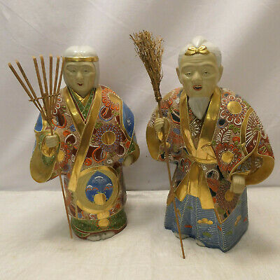 Pair Vintage Ceramic JAPANESE TAKASAGO OKIMONO FARMERS ELDERS Statues Signed #79
