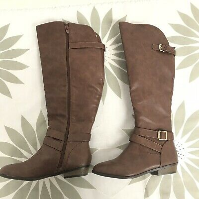 0c144da58c52 MATERIAL GIRL Womens Carliegh Knee High Fashion Boots Wide Calf Cognac 5.5  M New