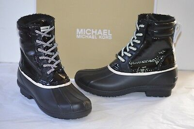 3035376fbdac New  150 Michael Kors Easton Bootie Rain Boot Lace Up Duck Boots sz 6 Round  Toe