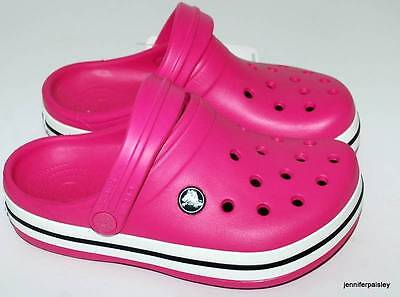 CROCS NEW GIRLS CROCBAND KIDS CLOGS SANDALS SHOES RELAX Fuschia rp $50 Free Post