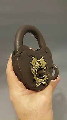RARE Antique Russian Iron Padlock Lock with brass rivet! S. Pavlova!