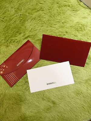 CHANEL FESTIVE RED GIFT CARD w/ Envelope & Iconic Charm Set 2019