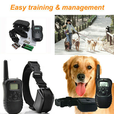 Remote LCD 100LV 300M Electric Shock Vibrate Dog Training Collar Waterproof AT