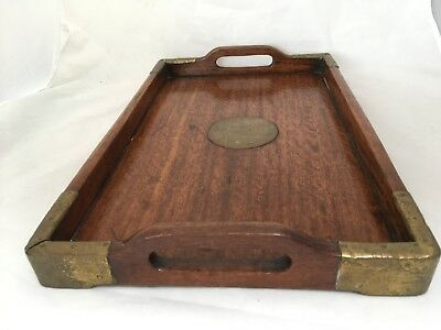 Vintage Antique Wooden Serving Tray with Brass Corners Central Chinese Plaque