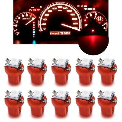 10X T5 B8.5d 5050 1smd Car Red LED Dashboard Dash Gauge Instrument Light Bulbs H