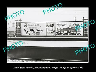 OLD LARGE HISTORIC PHOTO OF SOUTH YARRA VIC, THE AGE NEWSPAPER BILLBOARD c1930