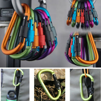 2pcs Aluminum Alloy Carabiner D-Ring Key Chain Clip Hook Outdoor Buckle AT