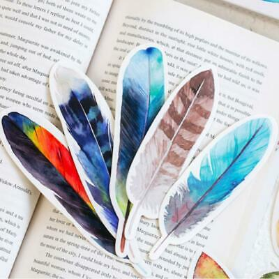 30Pcs/lot Colorful Bookmark Feather Bookmark Paper Stationery School Office Gift