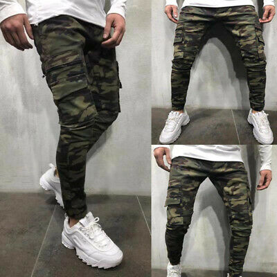Men Slim Fit Jogger Sports Gym Bodybuilding Running Camo Trousers Sweatpants