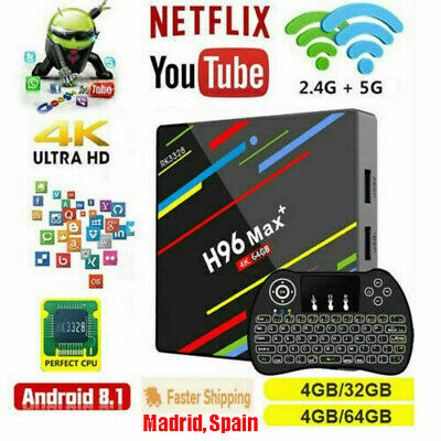 H96 Max Plus Android 8.1 TV Box 4G 64GB RK3328 4K 2.4&5G WiFi Caja De Tv&Teclado