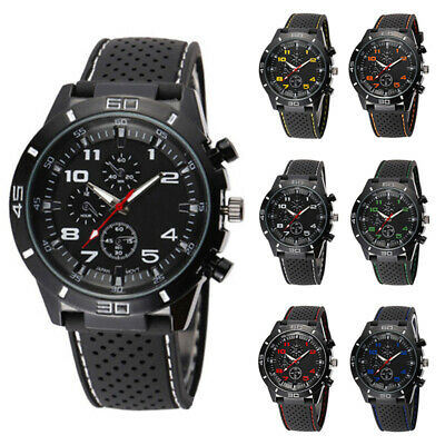 Watches Chic Black Silicone Band Stainless Steel Military Sports Quartz Gifts