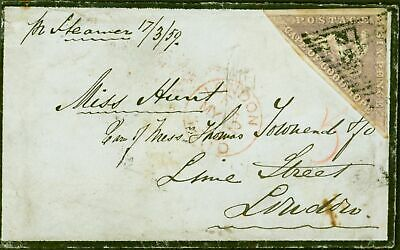 Cape of Good Hope 1859 Mourning  Cover From Cape Town to London Lime Street Bear