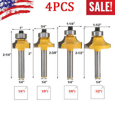 4 X Round Over Edging Router Bit 1/4'' Shank 1/2'' 3/8'' 1/4'' 1/8'' Radius US
