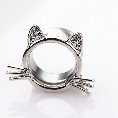 Female Animals Ring Cat Ears Silver Plated Stainless Steel Ring Jewelry Gifts 6A