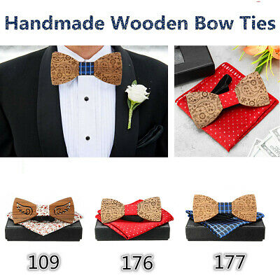 2PCS Wooden Bow Tie Accessory Men Gifts Party Wedding Wood Tuxed Bowtie Necktie
