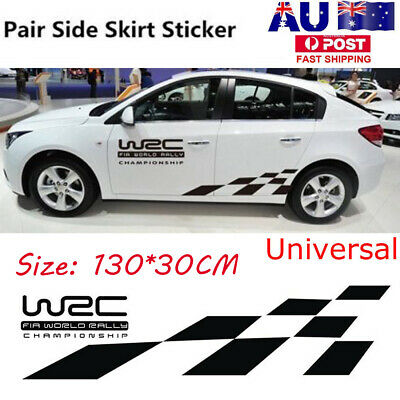 2PCS AUTO VINYL Side Body Racing Graphics Flame Decal Sticker Car Long Grid  AU