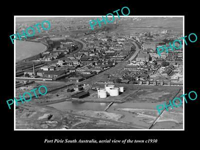 OLD LARGE HISTORIC PHOTO OF PORT PIRIE SA, AERIAL VIEW OF THE TOWNSHIP c1930