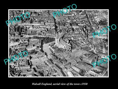 OLD LARGE HISTORIC PHOTO OF WALSALL ENGLAND, AERIAL VIEW OF TOWN c1930 3