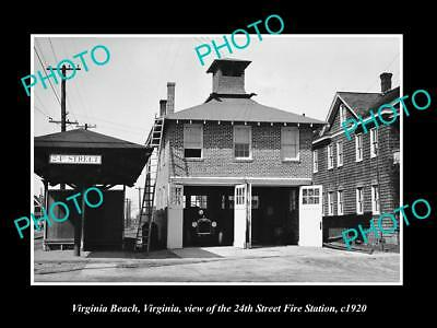 OLD LARGE HISTORIC PHOTO OF VIRGINIA BEACH VA, THE 24th St FIRE STATION c1920