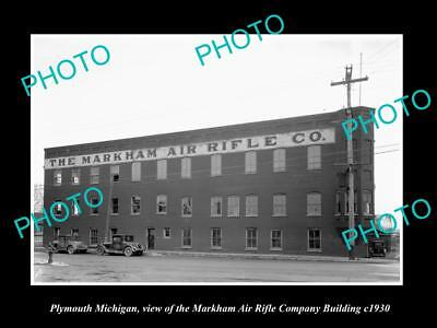 OLD LARGE HISTORIC PHOTO OF PLYMOUTH MICHIGAN, THE AIR RIFLE Co STORE c1930