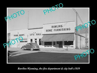 OLD LARGE HISTORIC PHOTO OF RAWLINGS WYOMING, THE FIRE STATION & CITY HALL c1939
