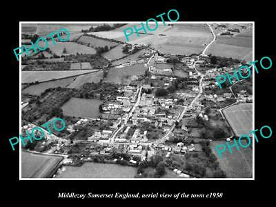 OLD LARGE HISTORIC PHOTO MIDDLEZOY SOMERSET ENGLAND, TOWN AERIAL VIEW c1950