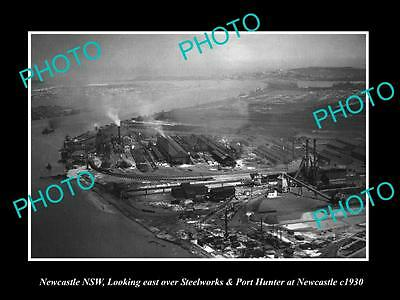 OLD LARGE HISTORIC PHOTO OF NEWCASTLE NSW, AERIAL VIEW OF THE STEELWORKS c1930