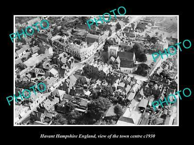 OLD LARGE HISTORIC PHOTO OF HAVANT ENGLAND, AERIAL VIEW OF THE TOWN c1930 2