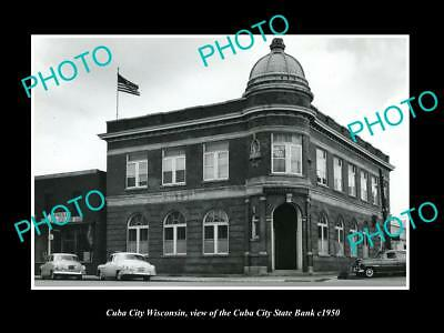 OLD LARGE HISTORIC PHOTO OF CUBA CITY WISCONSIN, THE STATE BANK BUILDING c1950