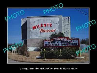OLD LARGE HISTORIC PHOTO OF LIBERTY TEXAS, THE MILENTZ DRIVE IN THEATER c1970