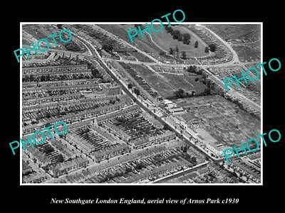 Old Large Historic Photo New Southgate London England, District Aerial View 1930