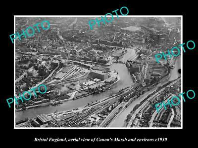 OLD LARGE HISTORIC PHOTO OF BRISTOL ENGLAND, AERIAL VIEW OF CANONS MARSH c1930