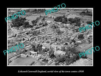 Old Large Historic Photo Of Liskeard Cornwall England, Aerial Of The Town 1930 3