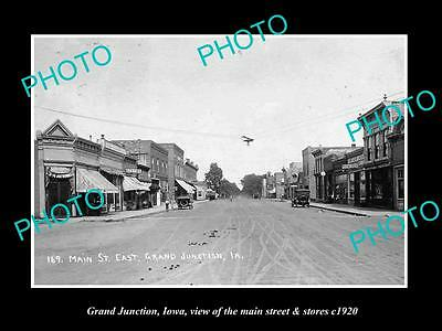 OLD LARGE HISTORIC PHOTO OF GRAND JUNCTION IOWA, THE MAIN STREET & STORES c1920