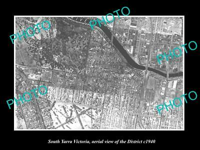 OLD LARGE HISTORIC PHOTO OF MELBOURNE VICTORIA, AERIAL VIEW OF SOUTH YARRA c1940